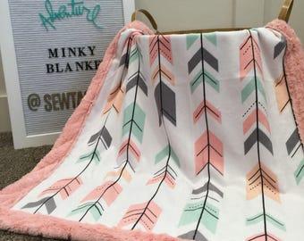 Arrow Minky baby Blanket Girl