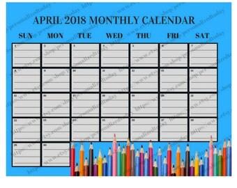 April 2018 Monthly Calendar Digital Printable File JPG PDF Blue Colored Pencils Month At A Glance Landscape Wide April Calendar Month