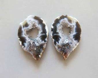 A Pair Natural Druzy Agate Geode Slices C5172