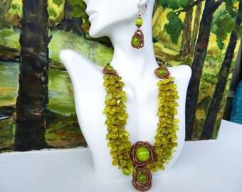 Boho Necklace Copper Wire Crochet Wire Wrapped Green Necklace Jade Necklace Healing Copper Necklace by AlfaStudioArtistica