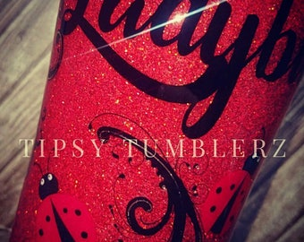 Ladybug glitter stainless steel tumbler cup ladybug yeti ladybug rtic ladybug ozark glitter yeti glitter rtic glitter ozark ladybug cup