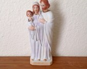 """Holy Family Statue; Figurine of Baby Jesus, Mary, and Joseph; Measures 8"""" Tall by 3.125"""" Wide; Hand-Painted Christian Statue"""