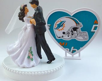 Wedding Cake Topper Miami Dolphins Themed First Dance Bride Groom's Turf Top Sports Fans Football Heart Reception Shower Gift Idea w/ Garter
