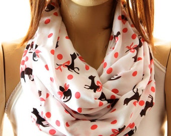 Cat Scarf- Cotton Scarf - Animal Scarf -Accessories - Loop Scarf- Birthday Gift - soft cotton scarf - black cat scarf - animal print scarf