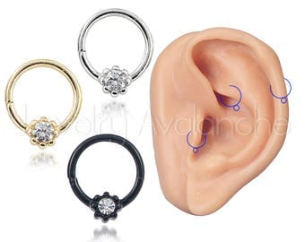 """18G Tribal Helix Earring, Tragus Hoops, Nostril Ring, Rook Earring, CZ Accented 5/16"""" (8mm) Nose Hoop Ring, Body Jewelry, Titanium Anodized"""