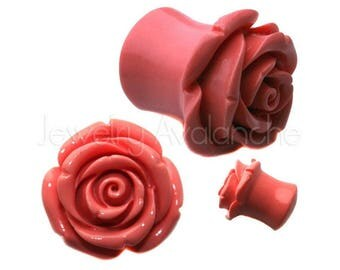 SALE 2-PAIRS Flower Ear Plugs Rose Ear Plugs, Organic Ear Plugs, Flared Hybrid Tea Rose Hard Resin Ear Tunnel Plugs BDJ0106