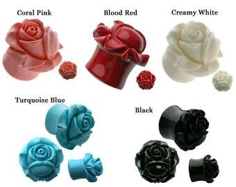 SALE 2-PAIRS Flower Rose Ear Plugs, Flared Shrub Rose Hard Resin Organic Ear Plugs Ear Tunnels, Black, Red, Pink, Turquoise BDJ0087