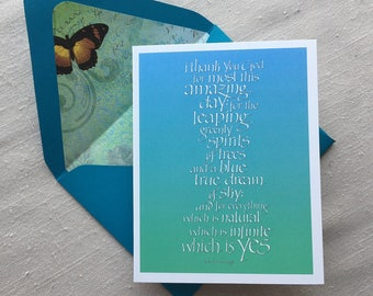 Greeting Card with e. e. cummings Quote in Calligraphy