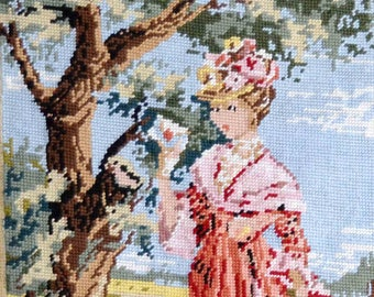 French hand made needlepoint tapestry, 19th century young lady portrait, romantic scene