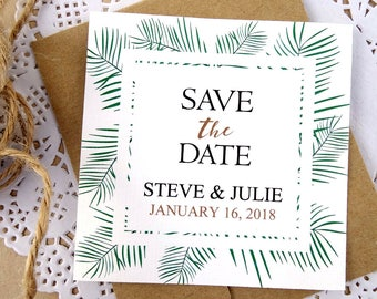Palm Leaves, Save the Date, Handpainted Green Flowers, Leaves Frame, Simple, Elegant, Recycled, Brown Kraft Paper Envelope