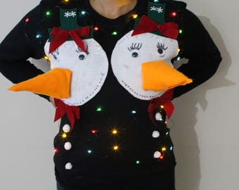 Please ask questions before ordering Ugly Christmas Sweater (SweatShirt)NEW Naughty Women  Black Snow woman S, M,L,XL with lights