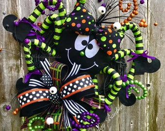 Halloween Wreath, Ms. Itsy Bitsy Spider Wreath, Whimiscal Spider Wreath, Halloween Decor, Whimiscal Halloween Wreath, Halloween Grapevine