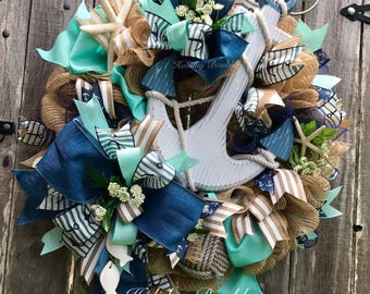Nautical Wreath, Beach Wreath, Anchor Wreath, Nautical Anchor Wreath, Nautical Decor, Beach Decor