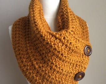 Crochet button cowl-mustard crochet scarf-neutral scarf-button scarf-cowl scarf-fall scarf-cozy scarf- butterscotch scarf