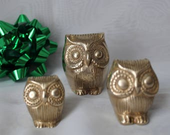 Vintage Solid Brass Owls Trio Family Figurines Set of 3