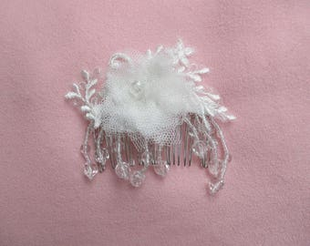 Bridal hair comb silver with flower on lace tulle and Pearl pendants