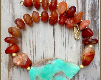 Chrysoprase Carnelian and  Vermeil Gold  Necklace