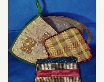SALE Antique Patchwork Pot Holders, Hot Mats, Group of Three, Vintage Fabrics