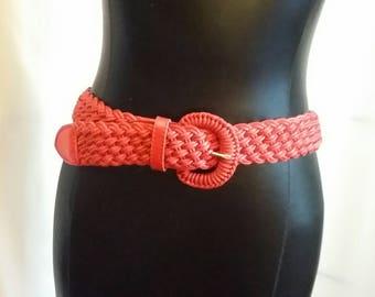 Vintage red belt red leather belt casual belt size small belt