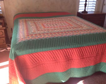 Vintage quilt top handquilted to queen size, burnt oranges and green