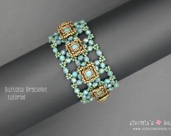 Buttons Beaded Bracelet Tutorial - Beading Tutorial - Swarovski Bezeled Chaton Bracelet - Beading Pattern