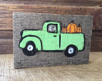 Mini wood paintings •  Vintage Truck painted on Wood • Tiny Truck • Home Decor • Fall Farm Green Truck with Pumpkins
