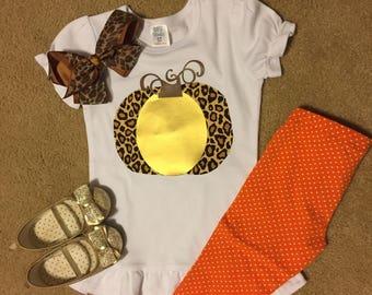 Leopard and gold pumpkin tee