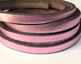 Pre Cuts, No joins, Flat 5mm Metallic Lilac Leather Cord, Leather bracelet finding supplies