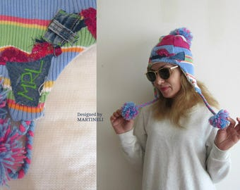 Earflap Hat Women Pompom Beanie  Patchwork Hat Rainbow Hat Tam Hat Upcycled Clothing Earflap Beanie Applique Beanie Unique Hat Recycle Denim