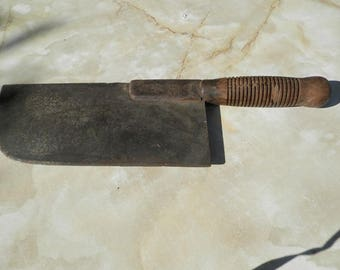French vintage 1920's butchers meat cleaver/wood splitter with wooden handle that is split