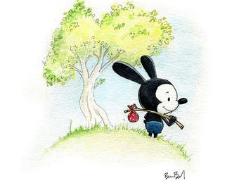 Oswald the Lucky Rabbit Fan Art Watercolor Print
