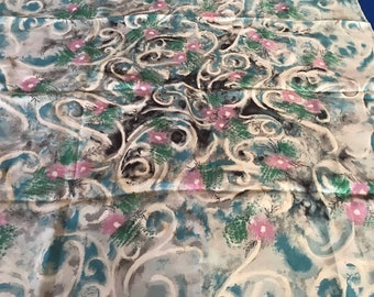 Vintage abstract fooral silk twill floral scarf