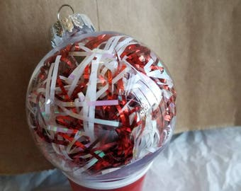 Peppermint tinsel ornament