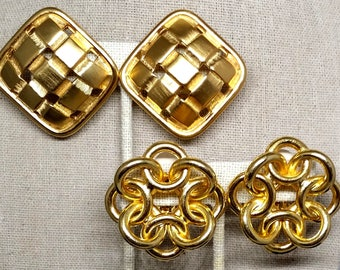 Large Gold Tone Clip On Earrings (2 Pair), Vintage Costume Jewelry