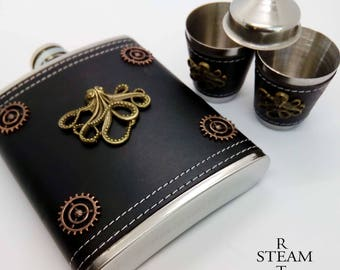 Steampunk flask and cup set- mens steampunk gift- steampunk octopus flask - kraken flask - Cthulhu flask - steampunk flask steampunk - flask