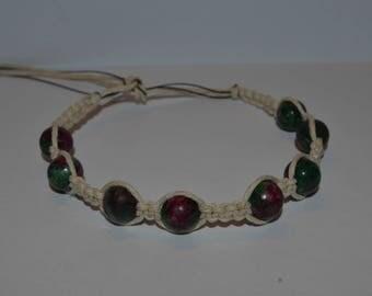 Ruby Zolsite Hemp Bracelet