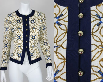 Vintage Silk Blouse Button Down Gold Blue Baroque Scarf Print Chain Size 4 Small