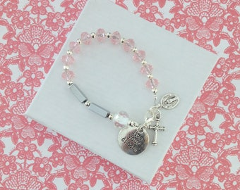 Rosary Bracelet,  Pink Crystal Charm Bracelet, Hematite, Baptism Bracelet, First Communion Gift, Confirmation Gift, Flower Girl, Birthdays