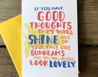 Good Thoughts Notecard -- Watercolor Greeting Card, Hand Lettering, Quotes