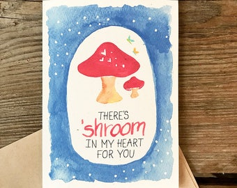 Room in my Heart -- Watercolor Sentiment Notecards, Hand Lettering, Mushroom, Valentine