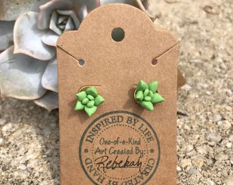Polymer Clay - Polymer Clay Succulent Earrings - Succulent Earrings - Handmade Succulent stud Earrings