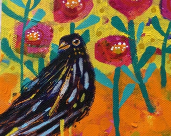 Cheeky Bird Original Acrylic Painting