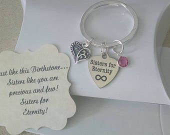 Sister Gift, Gift For Sisters, Personalized Keychain, Birthstone Keychain, Charm is as Big as a Nickle