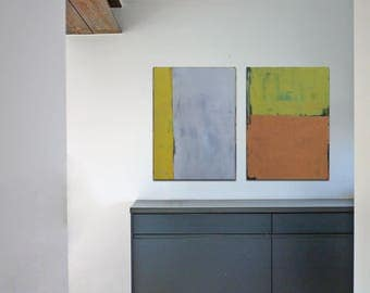 "Oil painting, canvas art, stretched, diptych ""Abstract line VI"". Size 2x (27.5/ 19.7 inches), 2x (50/70cm)."