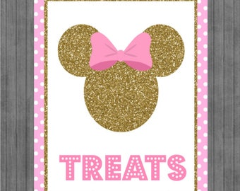 ON SALE!!  Mouse Birthday Sign, Pink and Gold, Treats sign