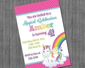 FLASH SALE Unicorn Rainbow Birthday Invitation