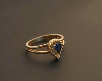 """14K Yellow Gold """"Rope Heart & Pear Blue Sapphire Ring"""", Blue Sapphire 1/2 Carats"""