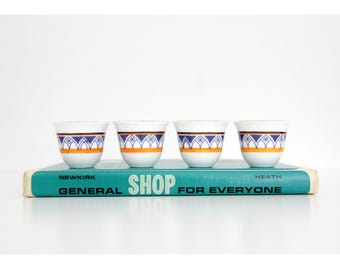Vintage Ceramic Sake Cups // White Blue Orange Small Cups // Set of Four