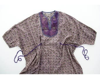 Vintage Dress // Indian Cotton Kaftan Maxi Dress // 70's Boho Hippie Dress