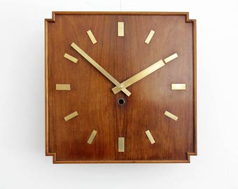 Vintage wall clock // Large Wooden Wall Clock, Pre WWII // Modern Minimal Design // Antique Wall Clock // Wood and Brass